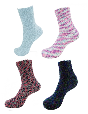 Super Soft Warm Microfiber Fuzzy Cozy Knobby Socks - Assorted Colors - 4 Pair