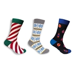 Men's Cotton Novelty Christmas Design Socks - Assorted 3 Pair