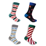 Men's Cotton Novelty Christmas Design Socks - Assorted 4 Pair