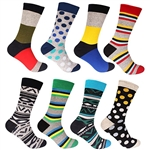 Men's Cotton Colorful Novelty Design Socks - 2 Pairs