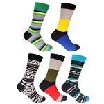 Men's Assorted Cotton Novelty Dress Socks - 5 Pair