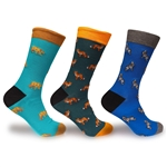 Men's Colorful Cotton Novelty Dress Socks - 3 Pair