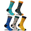 Men's Colorful Cotton Novelty Dress Socks - 5 Pair