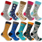 Assortment of cotton novelty socks with cool designs and patterns.