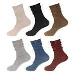 Women's Vintage Style Crew Cotton Pure Color Casual Boot Socks