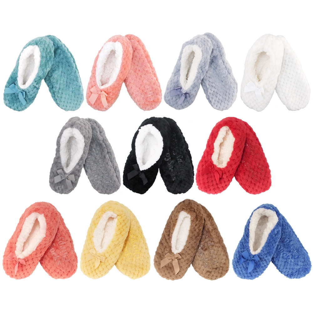 Adult Super Soft Warm Fuzzy Fancy Yarn Slippers Non-Slip Lined Socks 12 Pairs