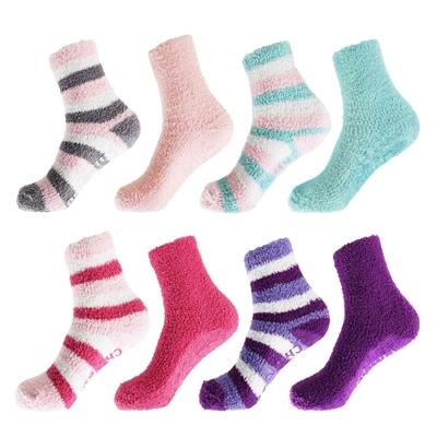 Super Soft Warm Microfiber Fun Fuzzy Comfy Home Socks - 4 Pairs of Socks