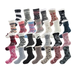 Extra Thick Fuzzy Thermal Fleece-lined Knitted Non-Skid Crew Socks