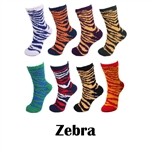 Super Soft Warm Fuzzy Microfiber Team Spirit Socks - Zebra