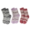 Women's Fuzzy Vintage Pattern Socks - 3 Pair