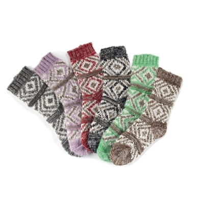 Women's Fuzzy Vintage Pattern Socks - 6 Pair