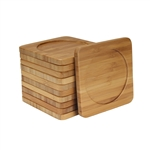 Bamboo 10-Piece Coaster Set - Round or Square