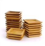 "Small Solid Bamboo Dishes - 2.4"" x 2.4"" - Deep Square"