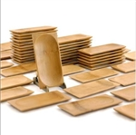 "Small Solid Bamboo Dishes - 4.7"" x 2.4"" Rectangle - Sharp Edge/ Oval"