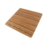 Custom Laser Engraved Raised Bamboo Bathmat - Family Name