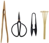 Bonsai Tool Kit - Pruning Shears, Precision Scissors, Bamboo Rake, and Bamboo Branch Holder