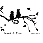 Custom Laser Engraved Bamboo Cutting Board - Cat Couple 2
