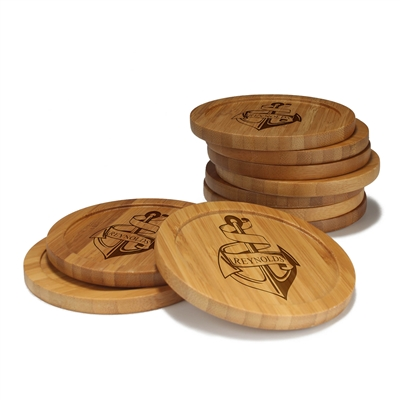 Engraved Bamboo Coaster Set - Round - Anchor - (10 Coasters/Set)