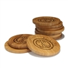 Engraved Bamboo Coaster Set - Round - Mr & Mrs Circle - (10 Coasters/Set)