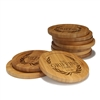 Engraved Bamboo Coaster Set - Round - Family Laurel - (10 Coasters/Set)