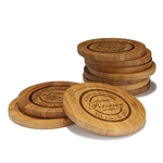 Engraved Bamboo Coaster Set - Round - Couple Circle Stamp - (10 Coasters/Set)