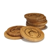 Engraved Bamboo Coaster Set - Round - Fish Circle - (10 Coasters/Set)