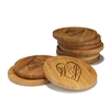 Engraved Bamboo Coaster Set - Round - Couple Heart - (10 Coasters/Set)