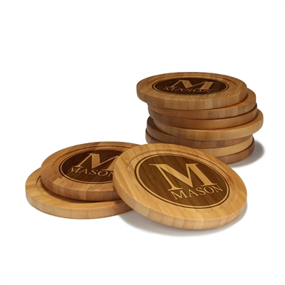 Engraved Bamboo Coaster Set - Round - Family Name Circle - (10 Coasters/Set)