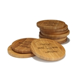 Engraved Bamboo Coaster Set - Round - Home Sweet Home - (10 Coasters/Set)