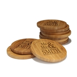Engraved Bamboo Coaster Set - Round - Mr and Mrs Basic - (10 Coasters/Set)