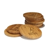 Engraved Bamboo Coaster Set - Round - Simple Monogram Thin Font - (10 Coasters/Set)