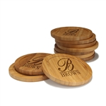 Engraved Bamboo Coaster Set - Round - Simple Monogram Thick Font - (10 Coasters/Set)