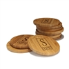 Engraved Bamboo Coaster Set - Round - Square Monogram - (10 Coasters/Set)