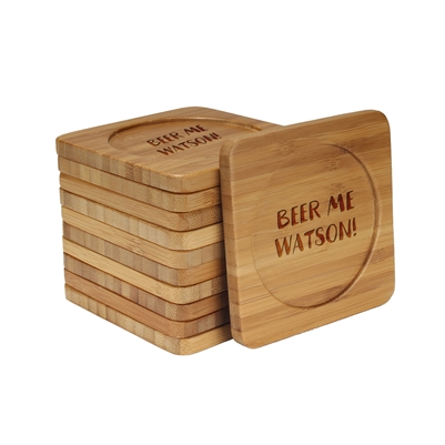 Beer/Wine Themed Laser Engraved Coasters - Square