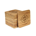 Engraved Bamboo Coaster Set - Square - Compass Name - (10 Coasters/Set)