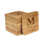 Engraved Bamboo Coaster Set - Square - Family Name Letter - (10 Coasters/Set)