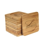Engraved Bamboo Coaster Set - Square - Family Name Simple Letter - (10 Coasters/Set)