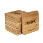 Engraved Bamboo Coaster Set - Square - A Family Story - (10 Coasters/Set)