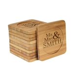 Engraved Bamboo Coaster Set - Square - Mr & Mrs Basic - (10 Coasters/Set)