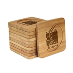 Engraved Bamboo Coaster Set - Square - Mr and Mrs Square - (10 Coasters/Set)