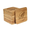 Engraved Bamboo Coaster Set - Square -Simple Monogram Thick Font - (10 Coasters/Set)