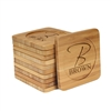 Engraved Bamboo Coaster Set - Square - Simple Monogram Thin Font - (10 Coasters/Set)