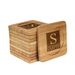 Engraved Bamboo Coaster Set - Square - Square Monogram Inverted - (10 Coasters/Set)