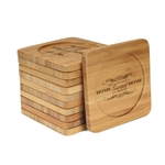 Engraved Bamboo Coaster Set - Square - Home Sweet Home - (10 Coasters/Set)
