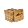 Engraved Bamboo Coaster Set - Square - Couple Branches - (10 Coasters/Set)