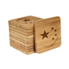 Engraved Bamboo Coaster Set - Square - China Flag - (10 Coasters/Set)