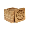 Engraved Bamboo Coaster Set - Square - Couple Circle Stamp - (10 Coasters/Set)