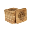Engraved Bamboo Coaster Set - Square - Floral Family Circle - (10 Coasters/Set)