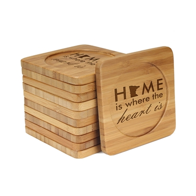 Engraved Bamboo Coaster Set - Square - Home is Where the Heart is - (10 Coasters/Set)
