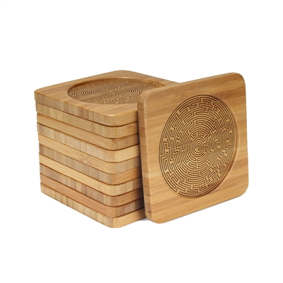 Engraved Bamboo Coaster Set - Square - Maze - (10 Coasters/Set)